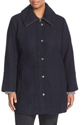 Plus Size Women's Jessica Simpson Basket Weave Fit And Flare Coat Navy