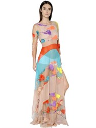 Blumarine Flower Embroidered Tulle Dress