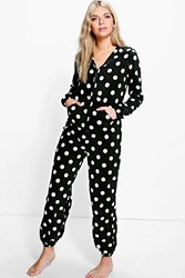 Boohoo Tilly Polka Dot Hooded Zip Up Fleece One Piece Black