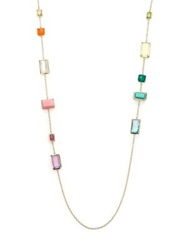 Ippolita Rock Candy Summer Rainbow Semi Precious Multi Stone And 18K Yellow Gold Rectangle Station Necklace Gold Multi