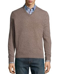 Neiman Marcus Cashmere V Neck Sweater Tan