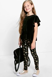 Boohoo Star Print Leggings Gold