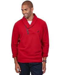 Nautica Shawl Collar Asymmetrical Zipper Sweatshirt Ribbon Red