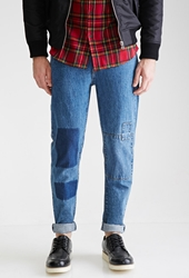 Forever 21 Medium Wash Slim Fit Patchwork Jeans