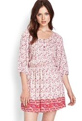 Forever 21 Soft Floral Peasant Dress Cream Red
