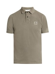 Stone Island Short Sleeved Cotton Pique Polo Shirt Grey