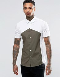 Asos Skinny Shirt In White With Diamond Cut And Sew And Short Sleeves White