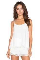 1. State Lace Overlay Halter Tank White