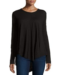 Jethro Long Sleeve Scoop Neck Tunic W Front Gusset Black