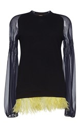 N 21 No. Claudia Long Sleeve Feather Trim Top Black