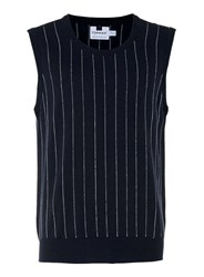 Topman Navy And White Pin Stripe Knitted Tank Vest Blue
