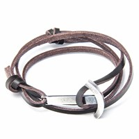 Anchor And Crew Dark Brown Clipper Leather Silver Bracelet