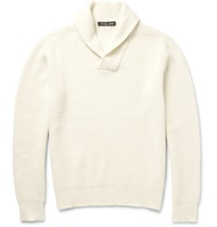 Michael Kors Shawl Collar Ribbed Knit Sweater White
