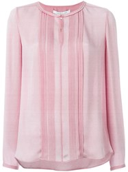 Diane Von Furstenberg Pleated Bib Longsleeved Blouse Pink And Purple
