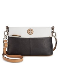 Giani Bernini Pebble Leather Colorblock Crossbody Black White