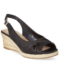 Bella Vita Sangria Too Espadrille Platform Wedge Sandals Women's Shoes Black Silk