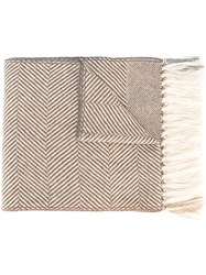 Eleventy Fringed Scarf Nude And Neutrals