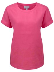Pure Collection Leah Embroidered Linen Top Fuschia Pink