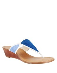 Nina Virginia Suede And Leather Thong Sandals Blue