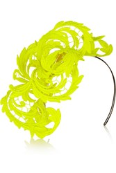 Philip Treacy Neon Guipure Lace Headpiece Yellow