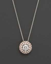 Bloomingdale's Diamond Halo Pendant In 14K Rose And White Gold 0.50 Ct. T.W. White Rose
