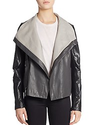 Vince Colorblock Leather Jacket Black Charcoal