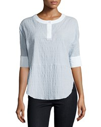 Bcbgmaxazria Striped Half Sleeve Top Sky Blue Combo