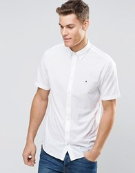 Tommy Hilfiger Shirt In White Poplin Short Sleeves In Regular Fit Classic Wh