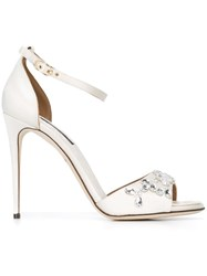 Dolce And Gabbana Embellished Sandals White