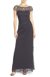 Xscape Evenings Women's Embellished Illusion Ruched Jersey Gown Charcoal