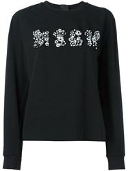 Msgm Floral Applique Sweatshirt Black