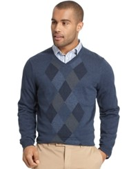 Van Heusen Big And Tall Feeder Stripe Diamond V Neck Sweater Blue