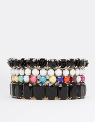 Lipsy Gem Stretch Bracelet Multi