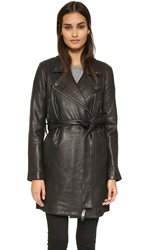 Current Elliott The Long Moto Leather Trench Black