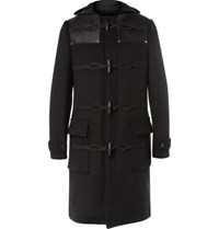 Givenchy Leather Panelled Wool Blend Duffle Coat Black