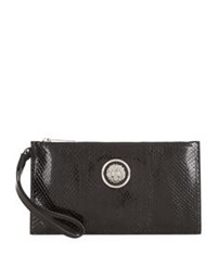 Versus By Versace Snakeskin Embossed Wristlet Clutch Black