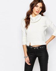 Noisy May Focus Roll Neck Long Sleeve Top White Black
