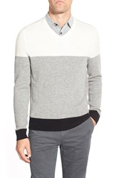 Ag Jeans Men's Ag 'Admiral' Colorblock Wool And Cashmere V Neck Sweater Natural White