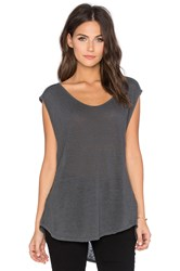 Velvet By Graham And Spencer Cortina Linen Slit Scoop Neck Tank Charcoal