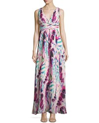 Aidan Mattox Sleeveless Pleated Printed Gown Pink Multi