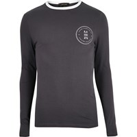 River Island Mens Grey Print Muscle Fit Long Sleeve T Shirt