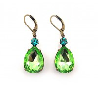 Zt Green Peridot And Blue Zircon Vintage Jewel Earrings