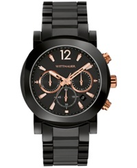 Wittnauer Men's Chronograph Aiden Black Ceramic Bracelet Watch 42Mm Wn3011