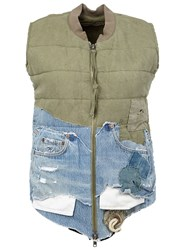 Greg Lauren Quilted Zip Front Bomber Vest Green