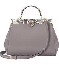 Aspinal Of London The Dockery Small Python Embossed Leather Handbag Chanterelle