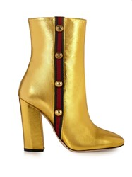 Gucci Carly Leather Boots Gold