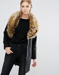Vila Faux Fur Collar Coat Black
