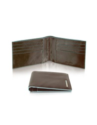 Piquadro Blue Square Men's Billfold Leather Wallet Dark Brown