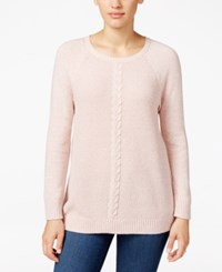 Karen Scott Cable Knit Crew Neck Sweater Only At Macy's Tea Rose Marl