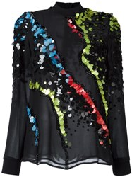 Versace 'Jagged Baroque' Sequin Detail Blouse Black